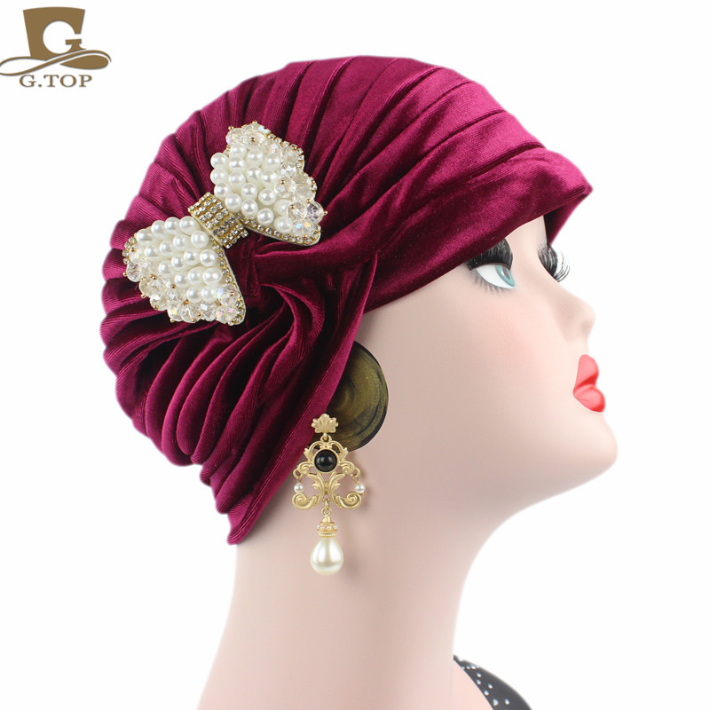 2017 new luxury pleated Turban Indian Style Hair Cover headwrap with pearled bowknot turbante hair accessories