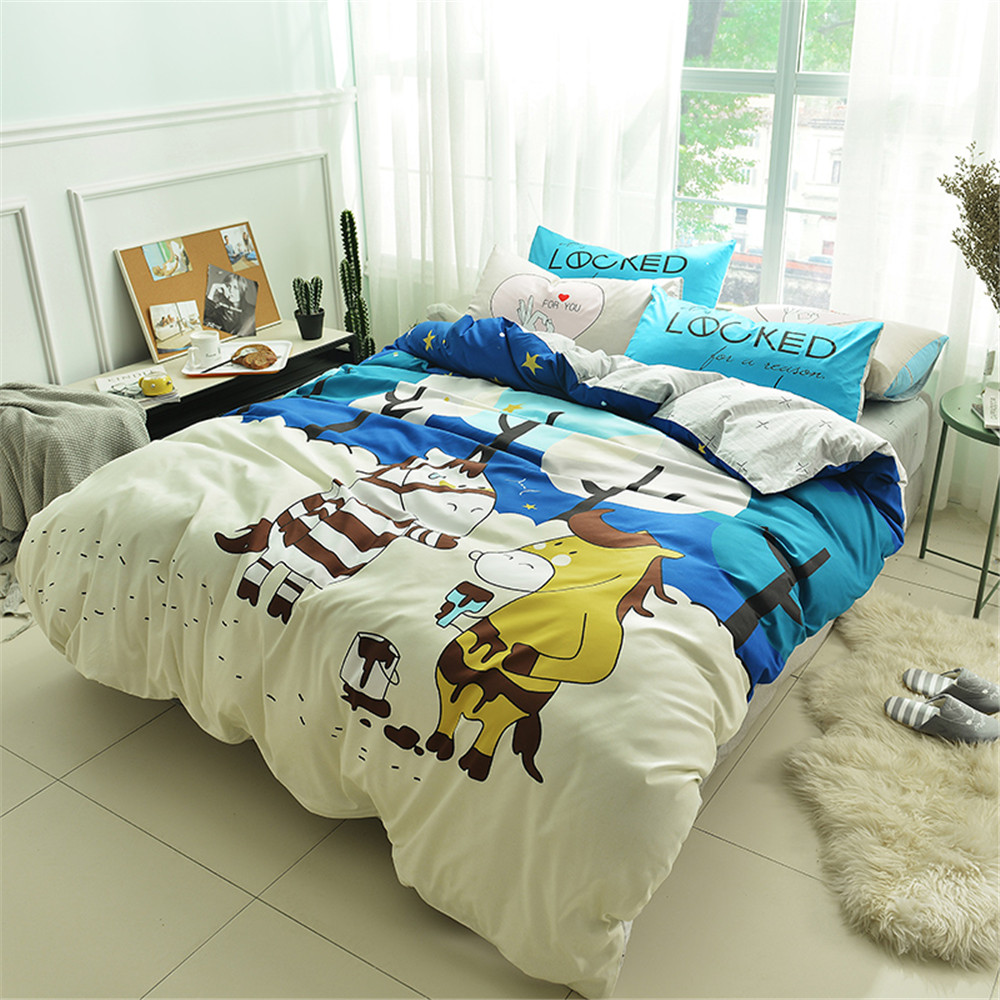 yeeKin Cartoon Zebra Kids Bedlinen,Flat Bed sheet Type Child zebra Duvet Cover Sets cartoon Zebra kids gift home bedding twin