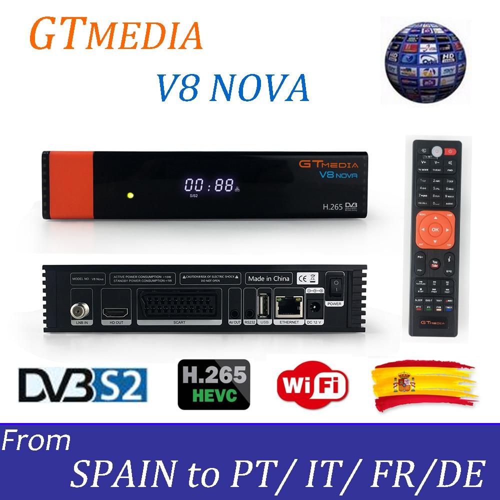 Горячие Gtmedia V8 Нова из Freesat V8 супер ТВ приемник с 1 год Европа Клайн рецепторов встроенный WI-FI H.265 DVB-S2 коробка Испания ТВ