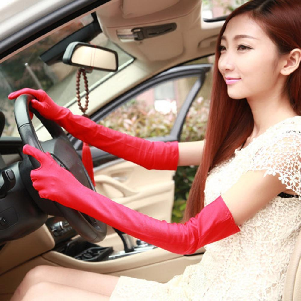 Women Summer Driving Lengthened Breathable Elastic Sun Protection Sleeve Gloves New