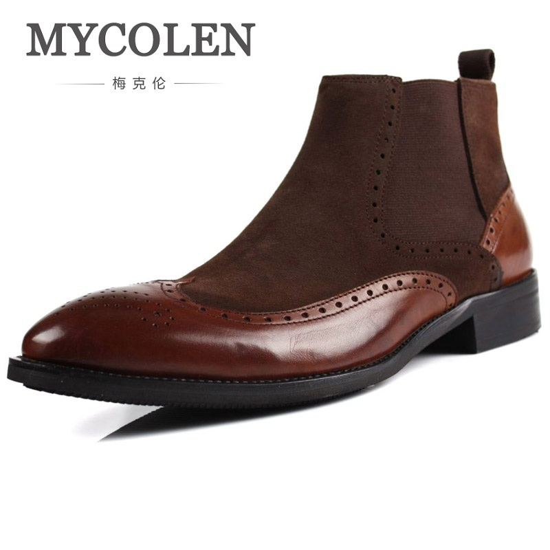 MYCOLEN New 2018 High Top Winter Shoes Men Genuine Leather Chelsea Boots Brogue Ankle Motorcycle Boots For Male Botas Militar