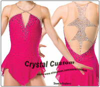 2016 Custom Red Figure Skating Dresses With Spandex New Brand Vogue Figure Skating Competition Dress Customized DR3002