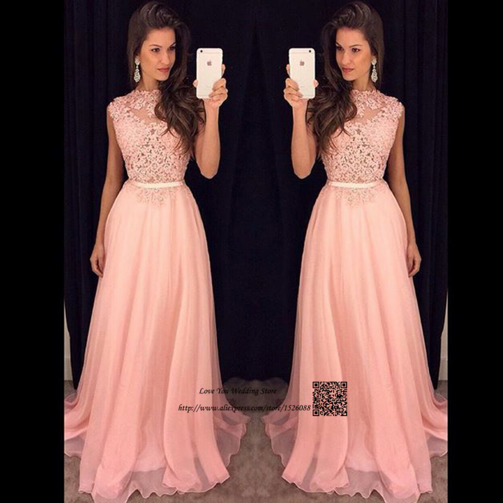 2017 Vintage Blush Pink Lace Prom Dresses Long O Neck Vestidos De Renda Formatura Special Occasion Party Dress For Graduation