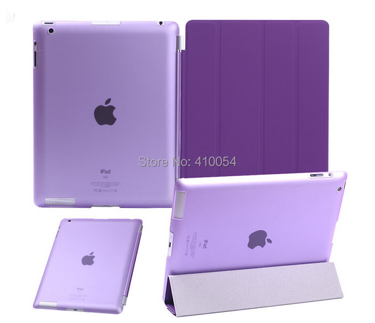 1 PU Leather Smart Cover +1 PC Hard Back Case For iPad 2 iPad 3 iPad 4 Multi-Color