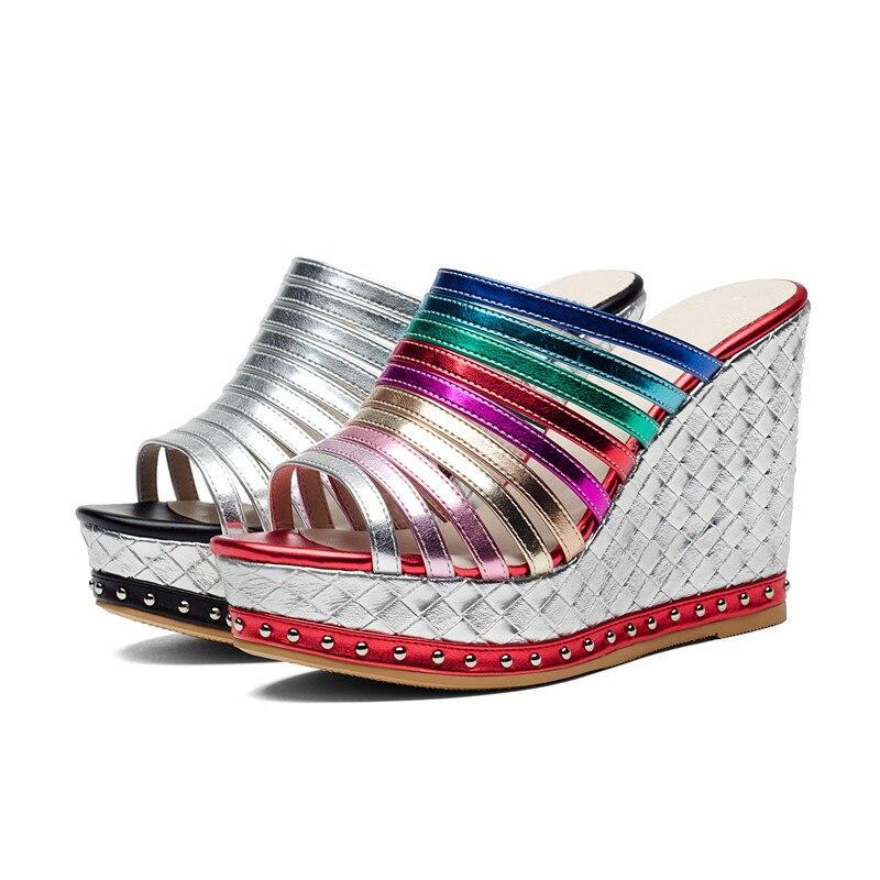 MORAZORA letnie buty najwyższej jakości kliny spuer obcasy buty sandały damskie moda wewnątrz ze świńskiej skóry buty platformy w Wysokie obcasy od Buty na  Grupa 2