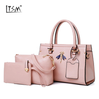 2018 new 3pcs/1Set Lichee Pattern Metal Wristlets Female Handbag Clutches Casual Fashion Shoulder Bag Set Women Totes
