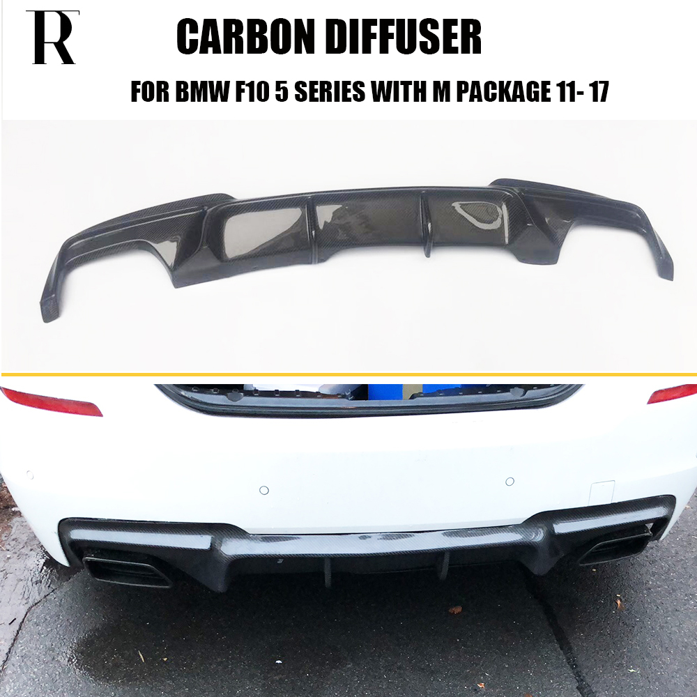 US $199 99 |F10 V Style Carbon Fiber Rear Bumper Diffuser for BMW F10 520i  528i 530i 535i 520d 525d 530d 535d M tech Bumper 2011 2017-in Bumpers from
