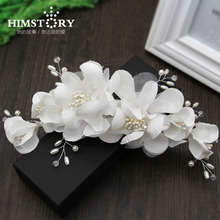 Wedding Handmade Crystal Beads Pearl  Hair Comb White Flower Hair jewelry bridal vintage hair accessories