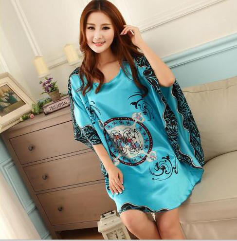 Sleepshirts Women Night Dress Plus Size Sleepwear Faux Silk Ladies Big Size Bat Sleepshirts Summer Nightgowns Female
