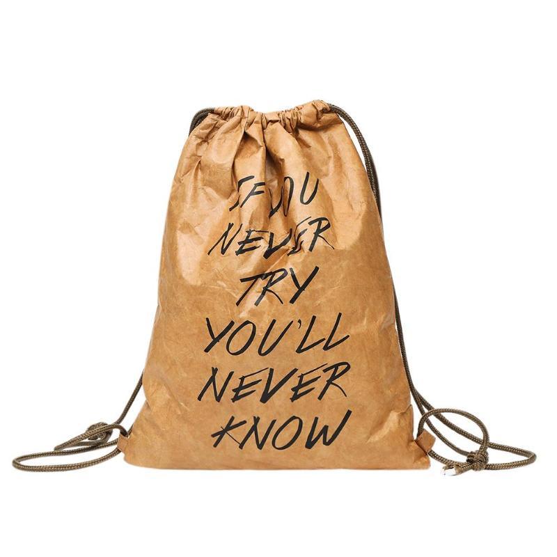 Women Waterproof Kraft Paper Drawstring Backpacks Letters Printed Casual Shoulder Backpack 2018 Design Simple Rucksack Mochila