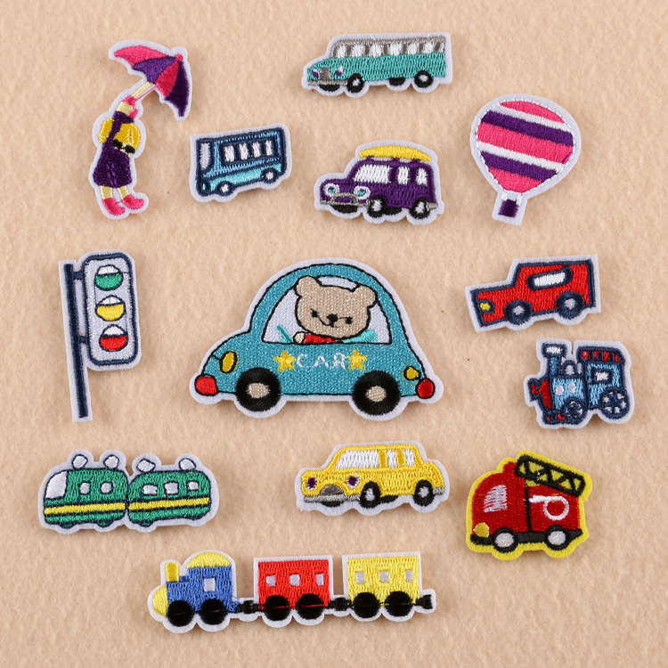 Cartoon Cars Embroidery <font><b>Patches</b></font> for Kids T-shirt Iron on Train Stripes Appliques <font><b>Bus</b></font> Children Clothes Stickers Clothing Badge @C image