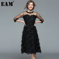 [EAM]2018 New Autumn winter Round Neck Three quarter Sleeve Blac Mesh Split Joint Tassels Loose Big Hem Dress Women Fashion JF54