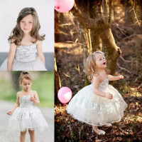 Silver Sequins Tulle Toddler Flower Girls Dresses For Weddings Strapless Cupcake Knee Length Baby Girls Birthday Gown