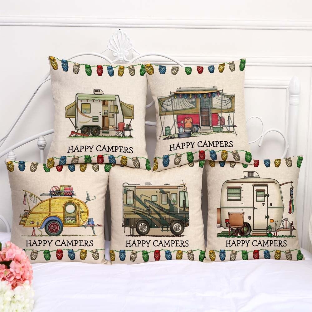 Cartoon Camping Car Linen Cotton Cushion Cover Throw Pillows Car Sofa Case Decorative Pillowcase For Children Gift 45*45cm
