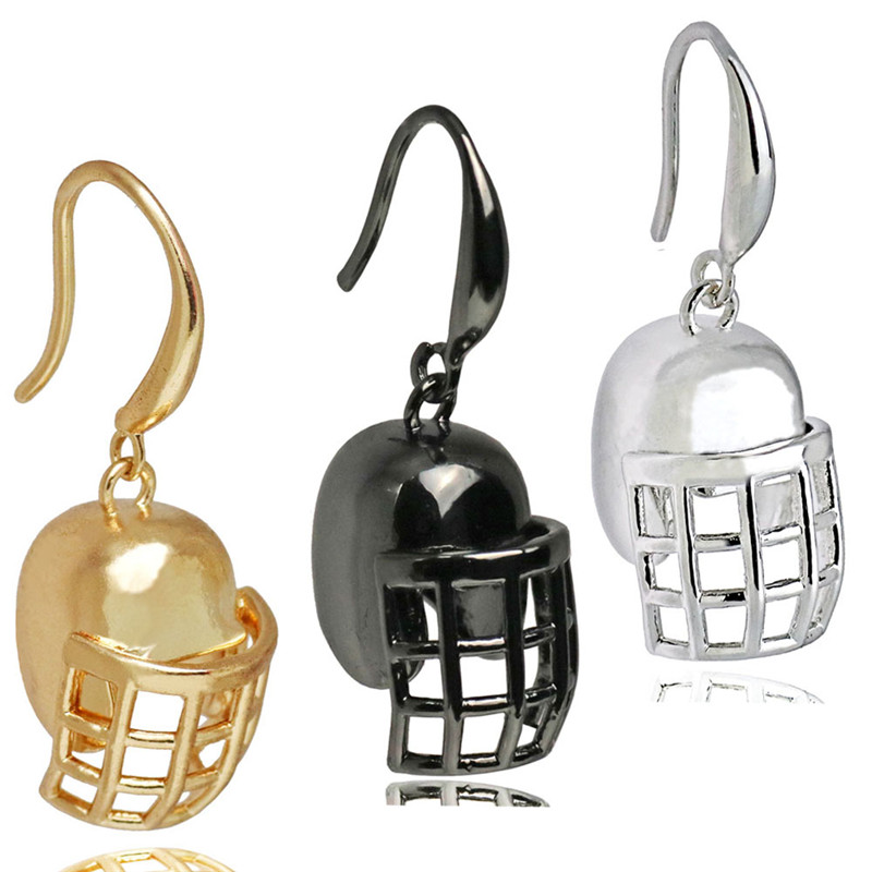 Stainless Steel Football Rugby Sports Helmet Charms Dangle Earrings for Women Men Free Open and Close Helmet Drop Earrings Gift