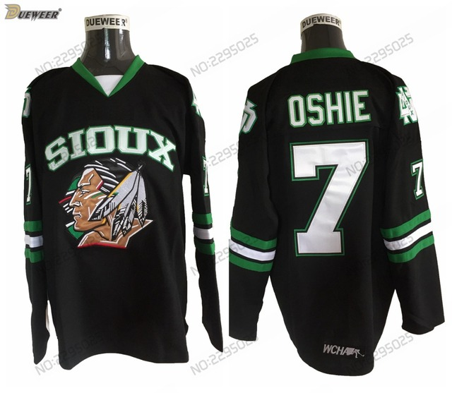 DUEWEER Mens Vintage 7 T.J. Oshie North Dakota Fighting Sioux College  Hockey Jerseys Cheap Black TJ Oshie Stitched Hockey Shirts d8f3e465b7a