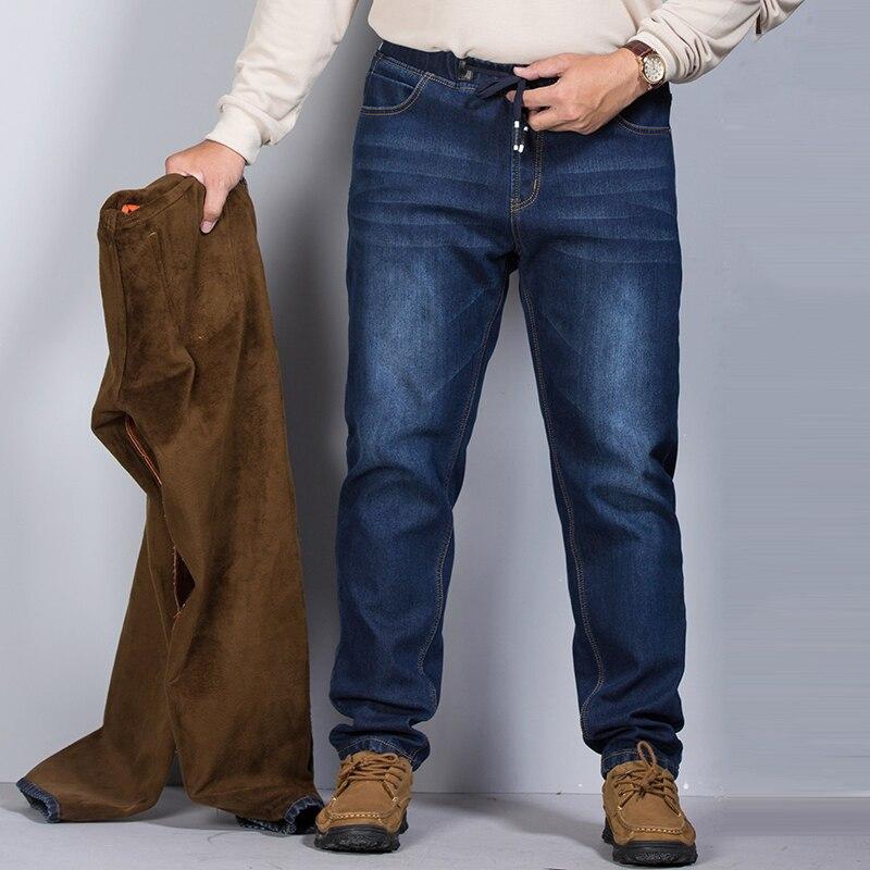 2018 Di Spessore Degli Uomini Di Inverno Dei Jeans Di Stirata Caldo Pile Di Sesso Maschile Dei Jeans Classici Di Alta Qualità Di Sesso Maschile Jean Del Denim Dei Pantaloni Più Il Formato 6xl 7xl Lustro Incantevole