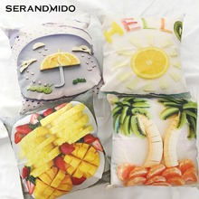 Fruit Cushion Cover Salad Printed Cotton Linen 45X45cm Pineapple Bedroom Decoration Throw Pillow Covers for Sofa SMC1791T-90