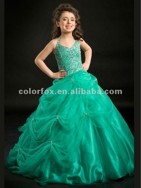 4a6dc61f4 Emerald Halter Beaded Shoulder Straps Crystals Pick Up Ball Gown ...