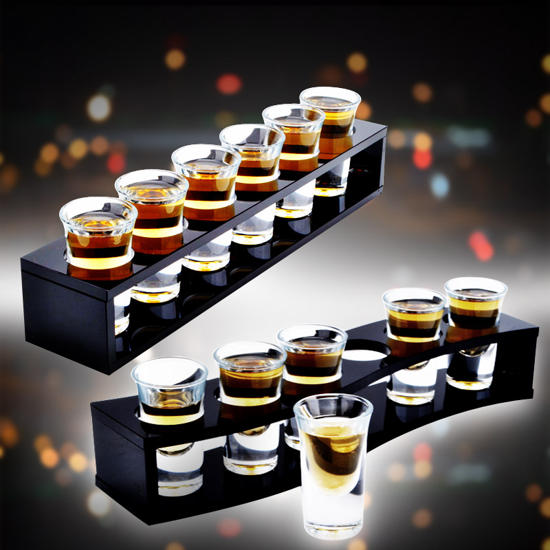 Bar Drinkware Cocktail Black wooden bullet cup rack cup holder With 6pc Shot Glass Set