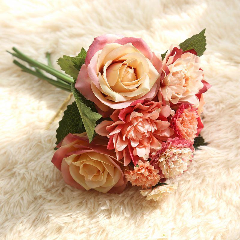 Silke blomma bröllop bukett rosor dahlias Konstgjorda blommor faller - Semester och fester - Foto 6