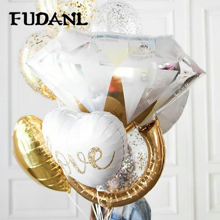 FUDANL Gold Diamond Ring Foil Balloon Rose Gold Bride To Be Balloon Letter Balloon Bridal Shower Wedding Engagement Decoration