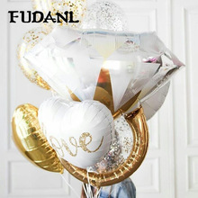 FUDANL Gold Diamond Ring Foil Balloon Rose Bride to Be Letter Bridal Shower Wedding Engagement Decoration