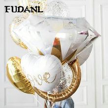 FUDANL Gold Diamond Ring Foil Balloon Rose Gold Bride to Be Balloon Letter Balloon Bridal Shower Wedding Engagement Decoration(China)