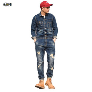 Idopy мужской джинсовый комбинезон, ковбойский винтажный рваный комбинезон для работы, облегающий синий джинсовый комбинезон с курткой, Рабо...