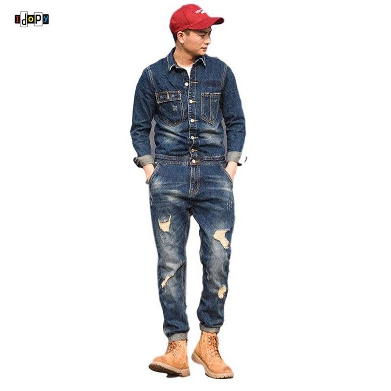 Idopy Men`s Bib Denim Overalls Cowboy Vintage Ripped Workwear Slim Fit Blue Jeans Jumpsuit With Jacket Work Suit For Men