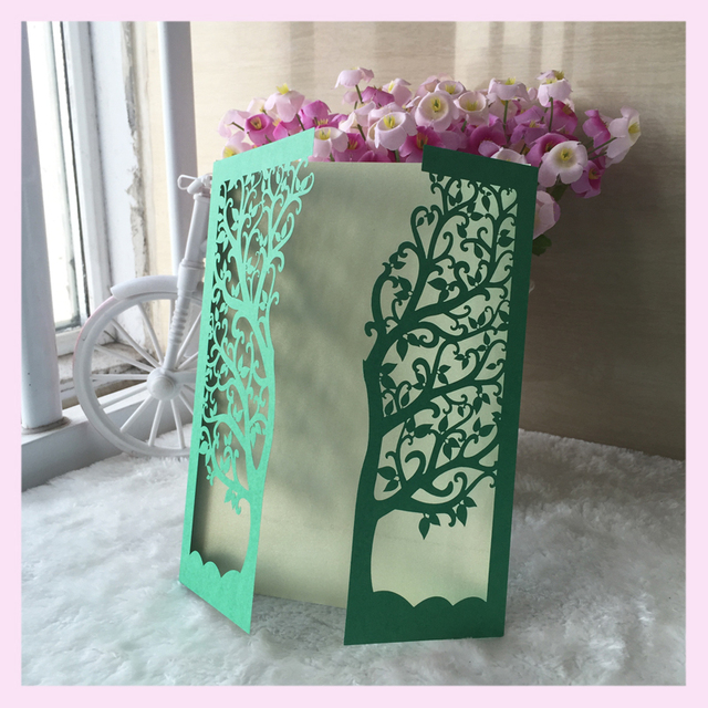 Wholesale Love Tree Design Wedding Invitation Cards Laser Cut Paper Craft Luxury Delicate Personalise Birthday Greeting