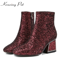 Krazing Pot New 2018 Sequined Cloth Bling Boots Thick High Heels European Square Toe Women Fashion