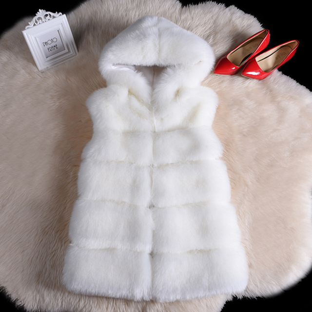 FURGAZI Hooded Faux Fur Vest
