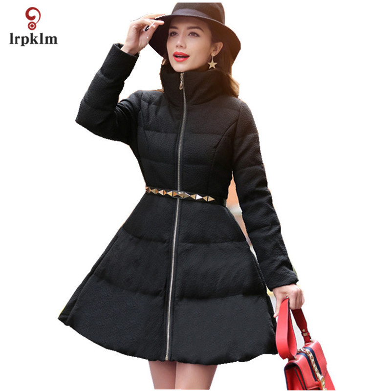 2017 New Fashion Women Winter Long Down Jackets Female Warm Goose Down Coat Slim Waist With Belt Womens Ultra Down Parkas PQ100