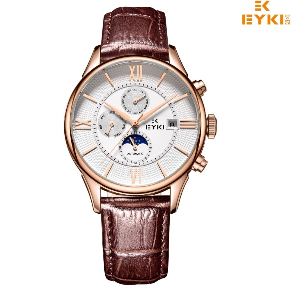 EYKI Men Top Luxury Brand Watches Wathed Men Mechanical Wristwatches Genuine Leather  Wristwatches Relojo Masculino ada instruments 3d liner 4v