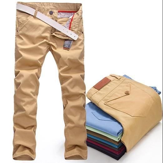 Térmica! 2014 a estrenar alta calidad pantalones de algodón pantalones rectos pantalones casuales para hombre de color caqui negro 8 color flaco joggers pantalones Cargo