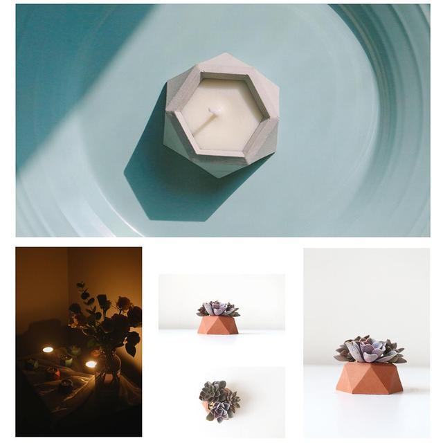 Molde de silicona de la maceta de la planta suculenta de la superficie con forma de diamante molde de yeso de la planta carnosa Bonsai