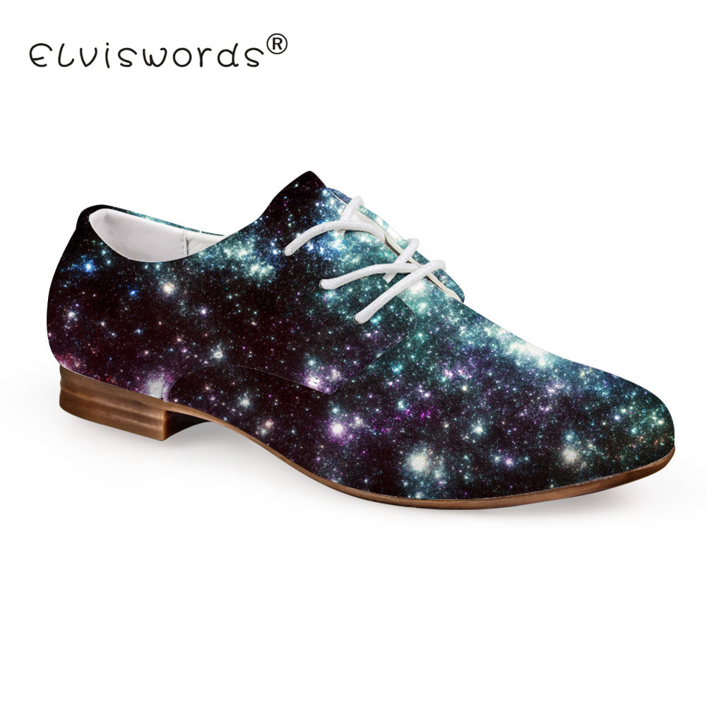 ELVISWORD Galaxy Printing Flat Shoes Women Starry Pattern Leather Shoes for Lady Summer Lace-up Shoes Teenager Fashion Footwear women shoes 2018 summer breathable fashion lady s casual shoes lace up girls handmade women woven shoes flip flop footwear 599w