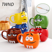 M&m bean expression coffee mugs breakfast tea milk cups and mugs with spoon ceramic large capacity mark drinkware