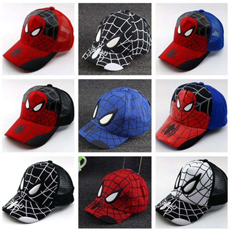 New Korean version of the summer sun protection   baseball     caps   Spider-Man duck tongue boy and girl sun hat mesh   cap   kids Snapback