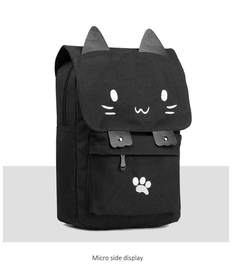 HTB18HOca8Cw3KVjSZR0q6zcUpXaD Cute Cat Canvas Backpack Cartoon Embroidery Backpacks For Teenage Girls School Bag Fashio Black Printing Rucksack mochilas XA69H