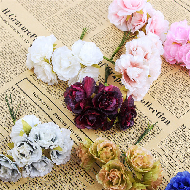 Online Shop 6pcs/lot Mini Silk Artificial Rose Flowers Bouquet ...