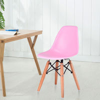 Giantex Pink Kids Dining Side Armless Chair Molded Plastic Seat Wood Legs Children Dining Room Furniture