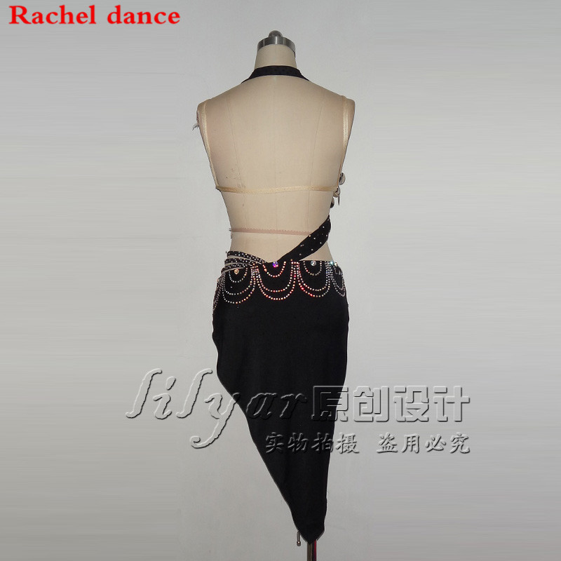 2018 Tassel Latin Dance Dress Women Top Harness Style Back Opening Salsa Tango Rumba Flamengo Latin Dance Competition Costumes