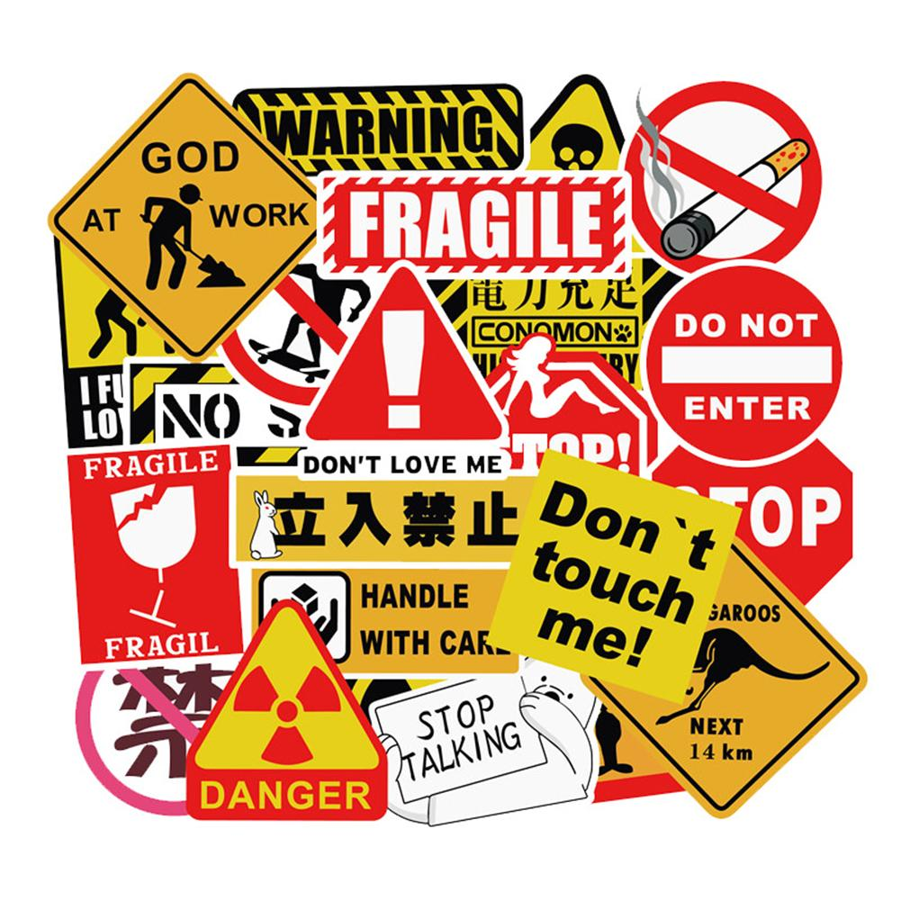 50Pcs Outdoor Travel Graffiti Sticker Non-repeating Warning Sign Graffiti Sticker Auto Motorcycle Body Stickers
