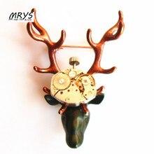 steampunk rock punk elk deer antler David's deer watch parts gears brooch pins badge men women jewelry christmas gift party new