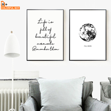 цена на Full Moon Life Quote Landscape Wall Art Canvas Painting Nordic Posters And Prints Black White Wall Picture For Living Room Decor