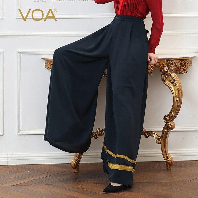 84f3cff0c89 VOA Plus Size 5XL Loose Palazzo Pants Heavy Silk Wide Leg Trouser Women Navy  Blue Casual Elastic High Waist Long Pantskirt K318