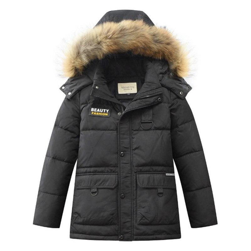 Превосходный пуховик на 90% белом утином пуху для мальчиков, Длинные парки, 5 слоев, пуховое пальто из ткани, зимняя детская одежда, 4 цвета, #