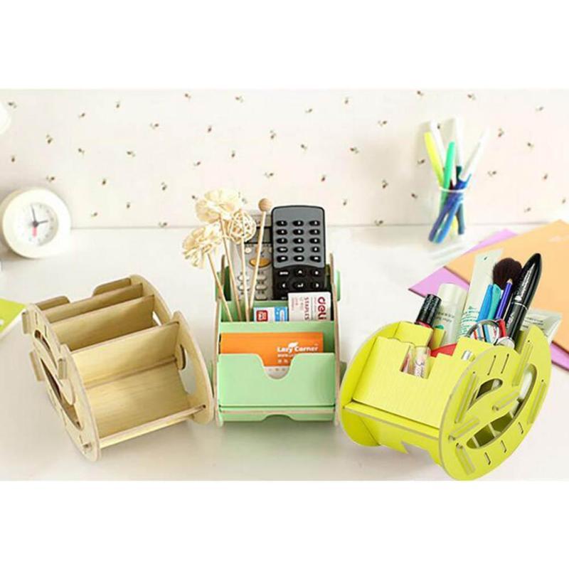 Creative Wooden Desktop Cosmetics Finishing Racks Mini Wood Shelves Storage Box Cosmetic Makeup Displaycase 2